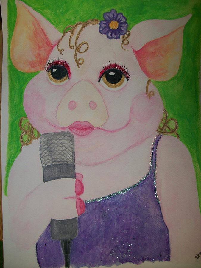 Amy Swinehouse Singing Pig Watercolor Painting By -8501