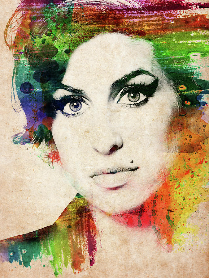 Amy Winehouse Digital Art - Amy Winehouse Colorful Portrait by Mihaela Pater