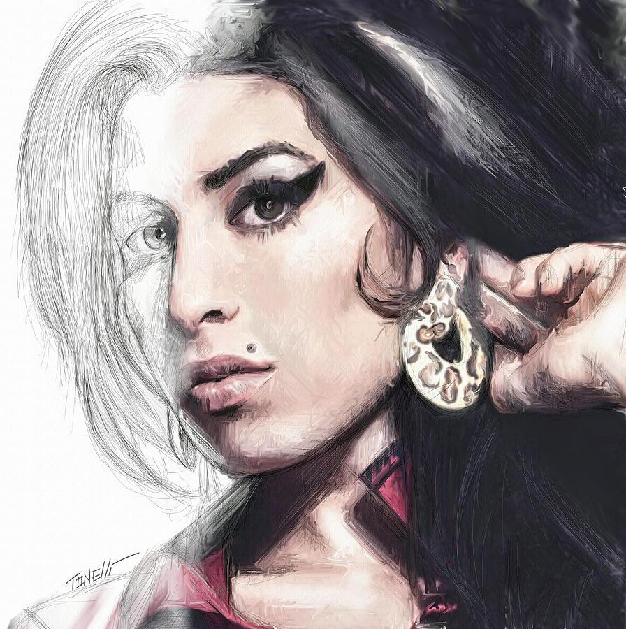 Winehouse Mixed Media - Amy Winehouse unfinished journey  by Mark Tonelli