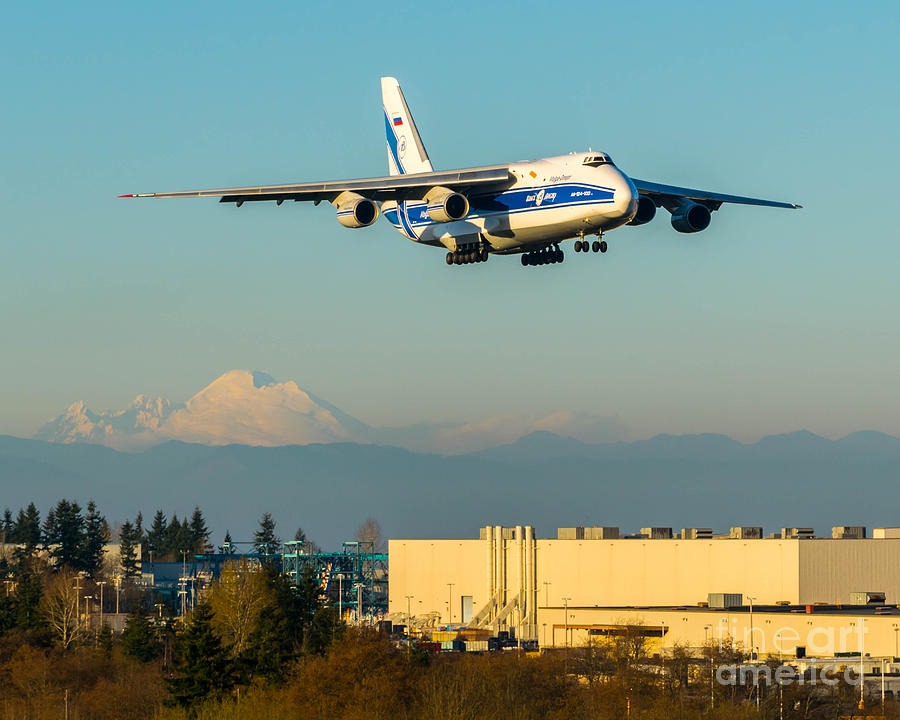 An-124 Jetting Right Past Mount Baker On Final To Paine Field Photograph