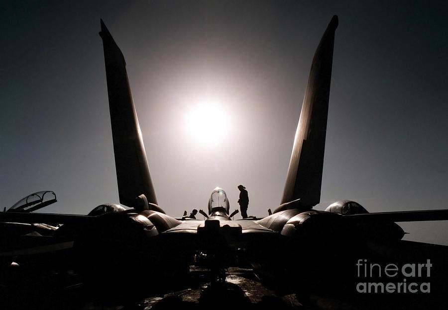 An Aircraft Mechanic Works On An F-14b Photograph