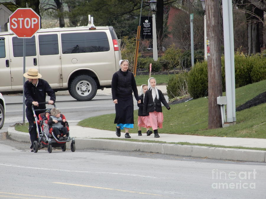 Amish Photograph - An Amish Family Going For A Walk by Christine Clark