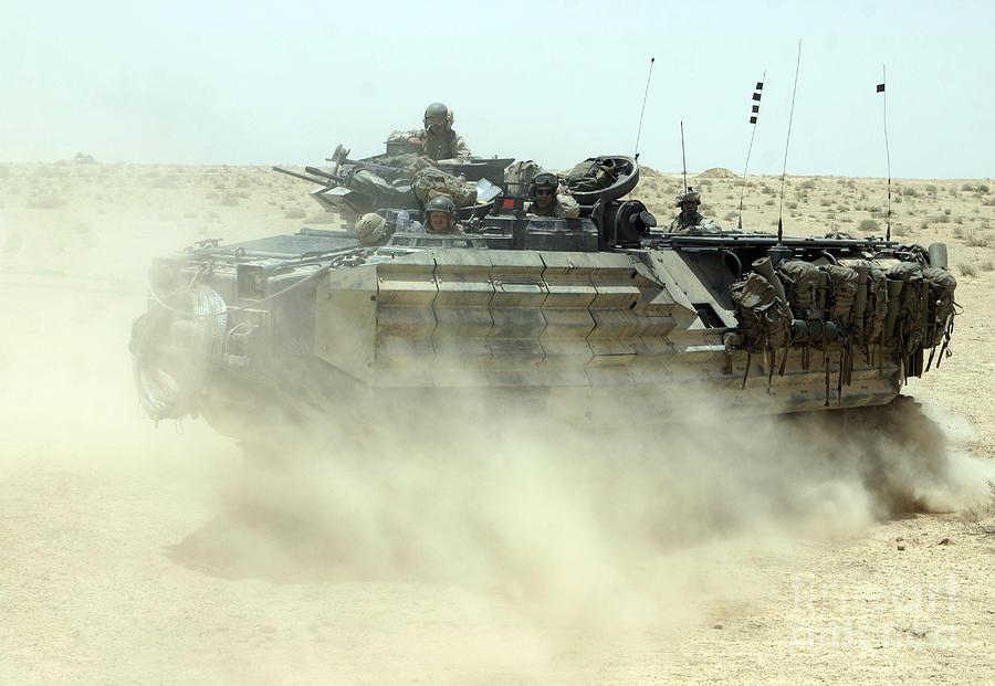 Aav Photograph - An Amphibious Assault Vehicle Kicks by Stocktrek Images