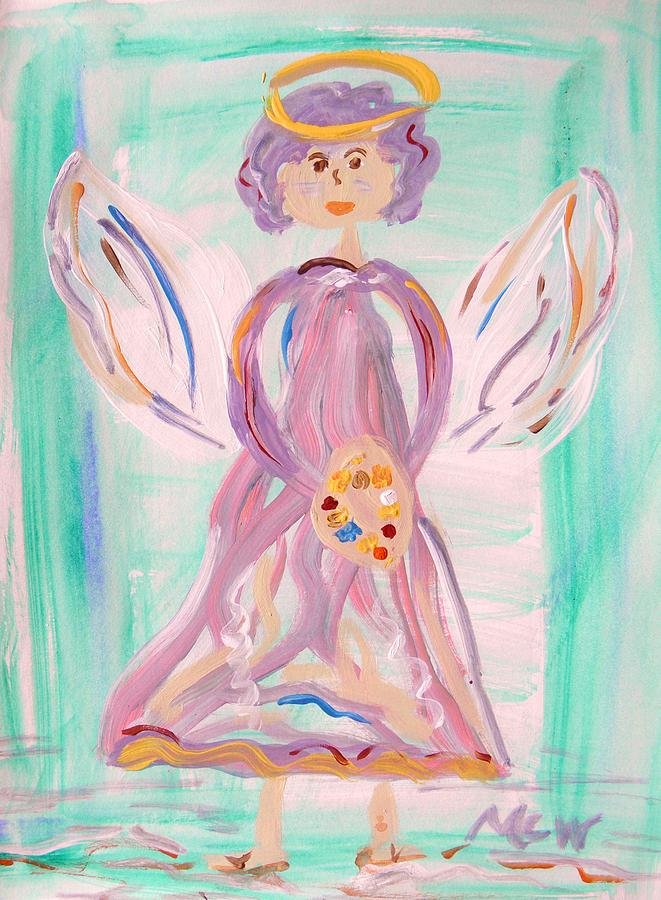 Primitive Painting - An Angel Of Vision by Mary Carol Williams