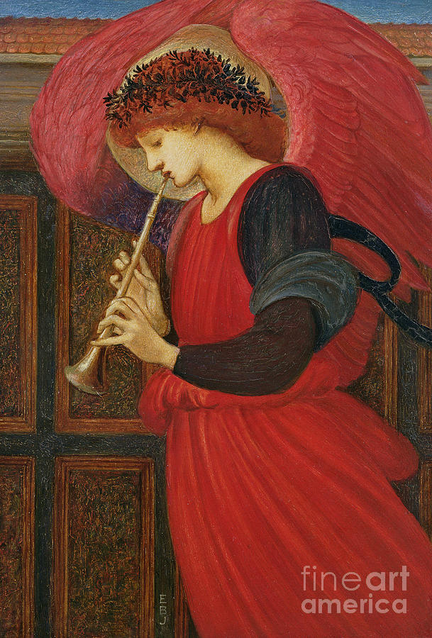 Burne Painting - An Angel Playing A Flageolet by Sir Edward Burne-Jones