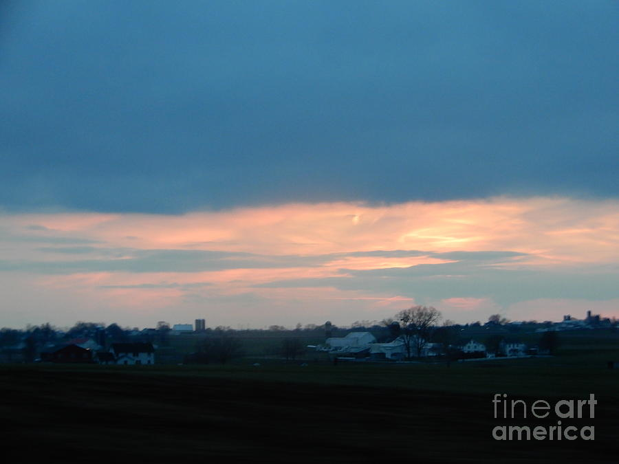 Amish Photograph - An April Sunset Over An Amish Farm by Christine Clark