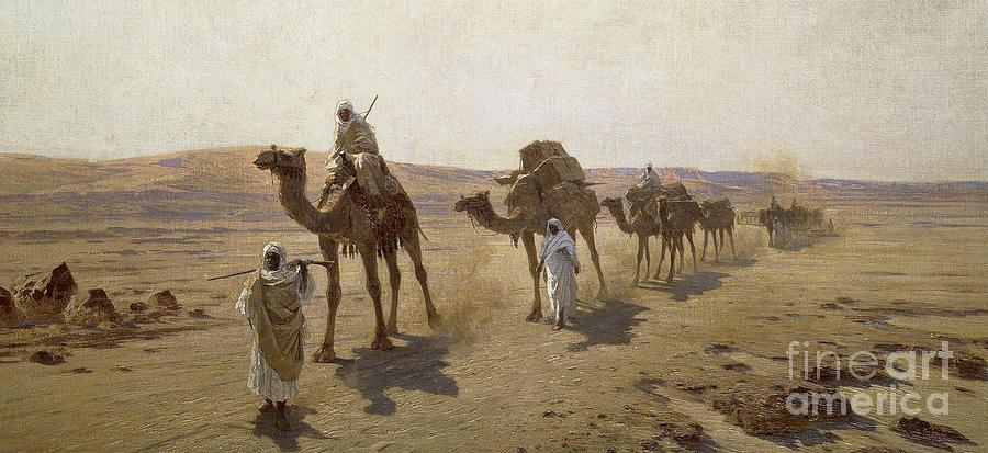 Camel Train Painting - An Arab Caravan by Ludwig Hans Fischer