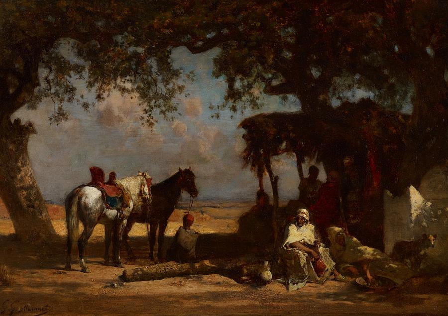 Horse Painting - An Arab Encampment by Gustave Guillaumet