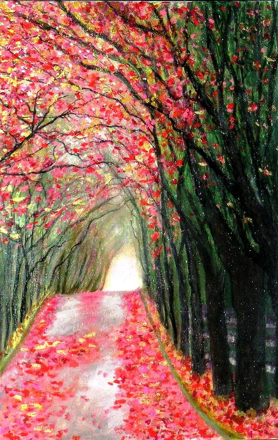 Arch Painting - An Arch Made Of Red Maple Leaves by Marie-Line Vasseur
