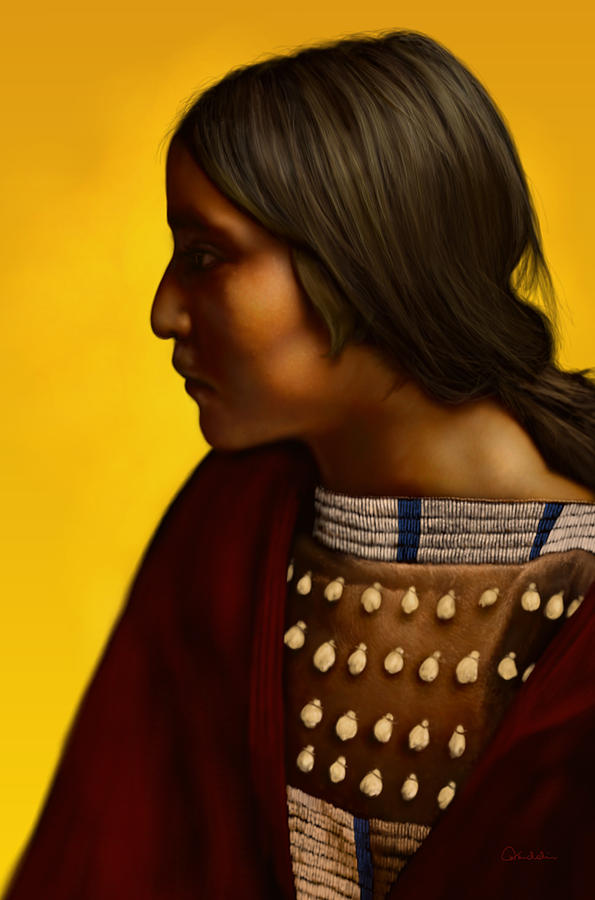 Portrait Digital Art - An Arikara Girl by Helmut Weininger