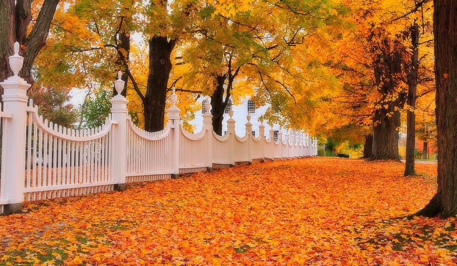 Bennington Photograph - An Autumn Stroll - West Bennington Vermont by Expressive Landscapes Fine Art Photography by Thom