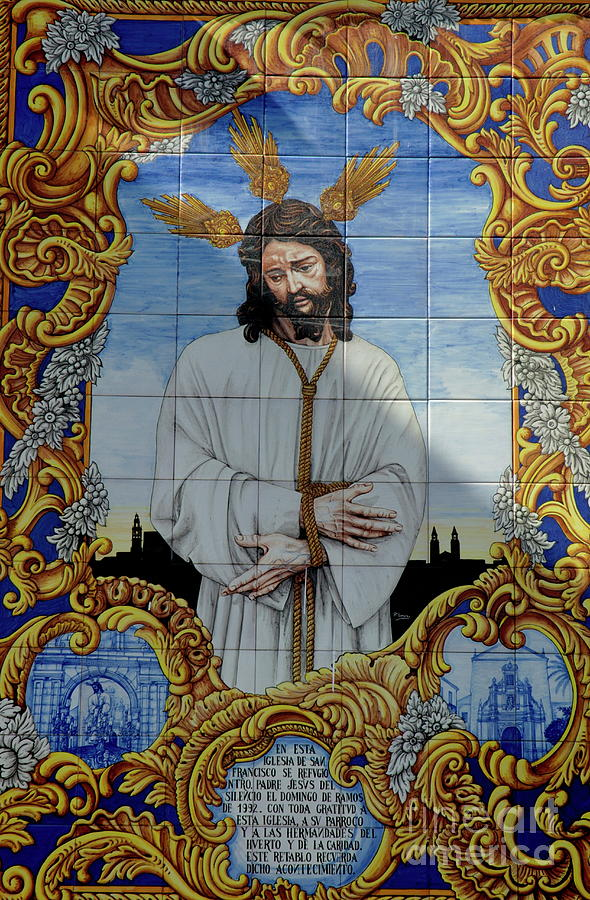 Andalusia Photograph - An Azulejo Ceramic Tilework Depicting Jesus Christ by Sami Sarkis