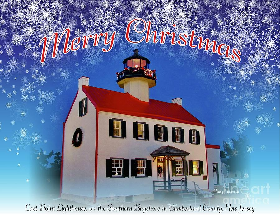 An East Point Lighthouse Merry Christmas 2 by Nancy Patterson