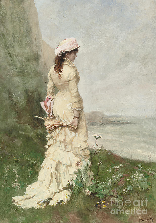 An Elegant Lady By The Sea Painting By Ferdinand Heilbuth