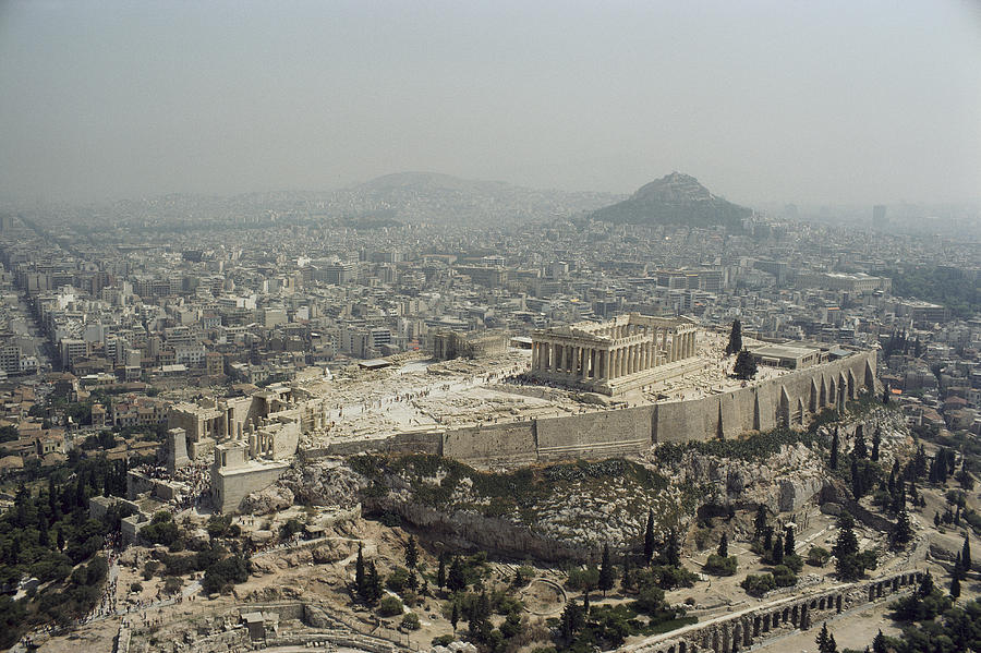 Ancient Photograph - An Elevated View Of The Parthenon by James P. Blair