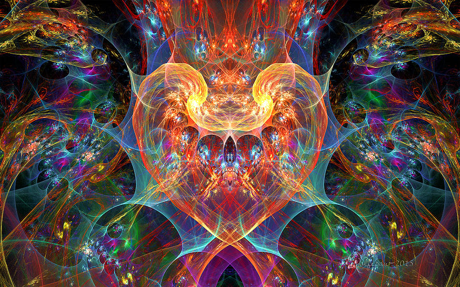 Abstract Digital Art - An Energetic Heart by Peggi Wolfe