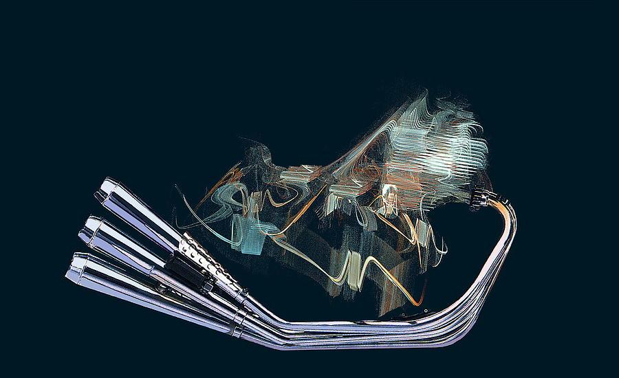 Power Digital Art - An Engine. Motorcycle Engine by Viktor Savchenko