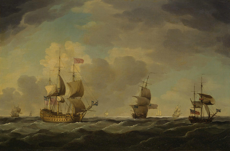 English Painters Painting - An English Flagship Under Easy Sail In A Moderate Breeze by Charles Brooking