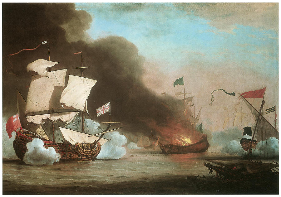 Willem Van De Velde The Younger Painting - An English Ship In Action With Barbary Pirates by Willem van de Velde the Younger
