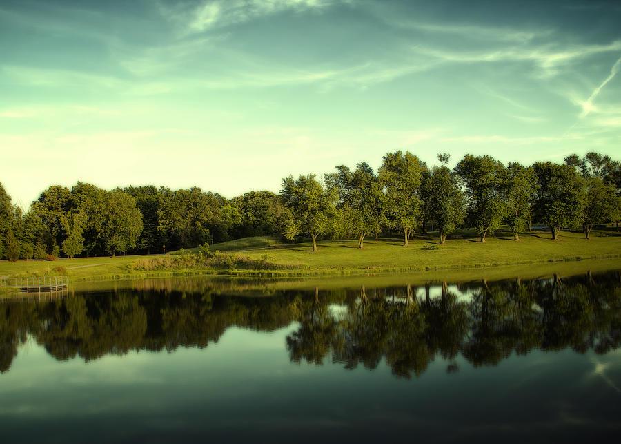 Landscape Photograph - An Evening At Broemmelsiek Park by Bill Tiepelman