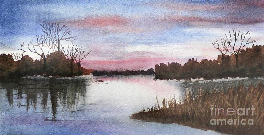 Watercolor Painting - An Evening at Lake by Rupali Kumbhani