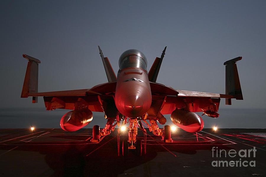 Aircraft Photograph - An Fa-18f Super Hornet Parked by Stocktrek Images