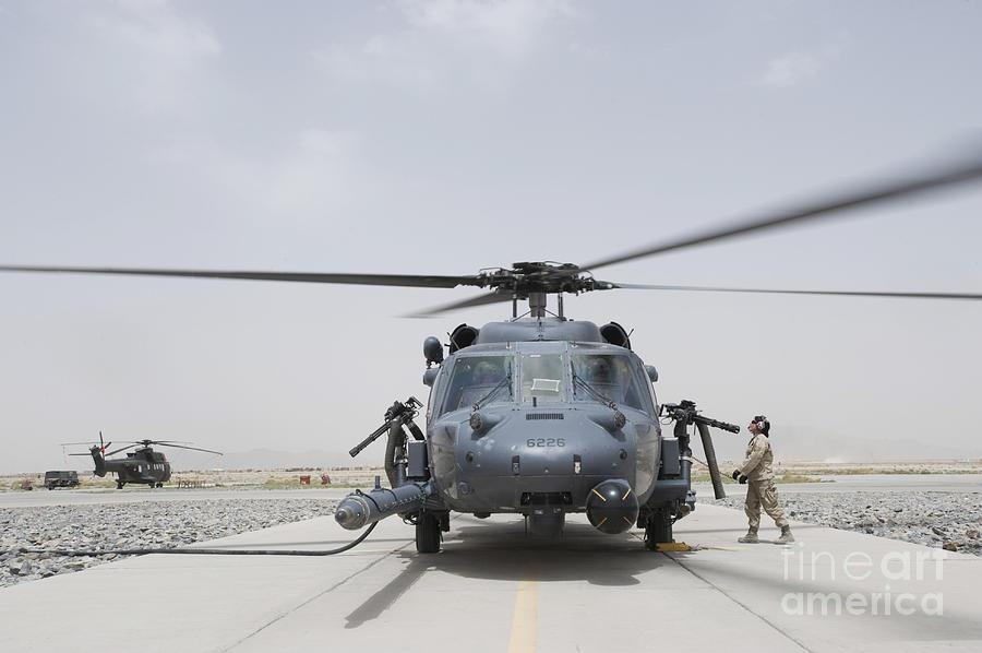 Aeromedical Photograph - An Hh-60 Pave Hawk Lands After A Flight by Stocktrek Images