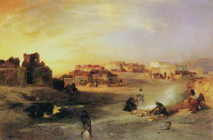 Pueblos Painting - An Indian Pueblo by Thomas Moran