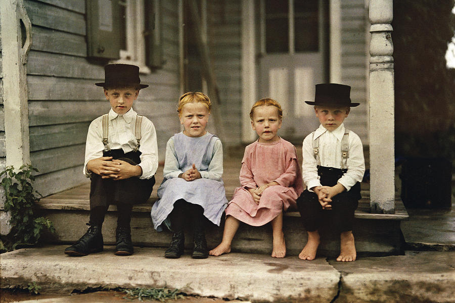 Color Image Photograph - An Informal Group Portrait Of Amish by J Baylor Roberts