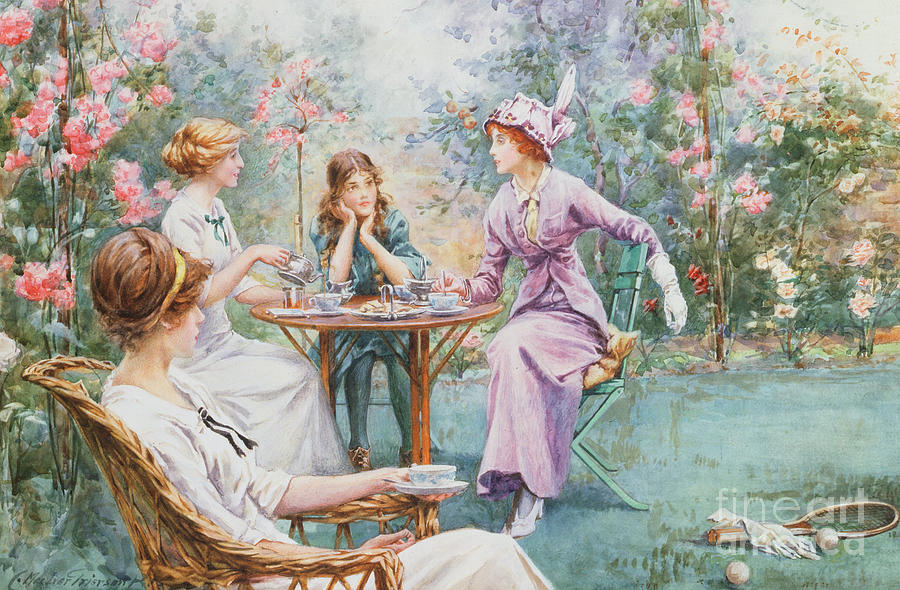 Rose Garden Painting - An Interested Audience by Charles MacIvor Grierson