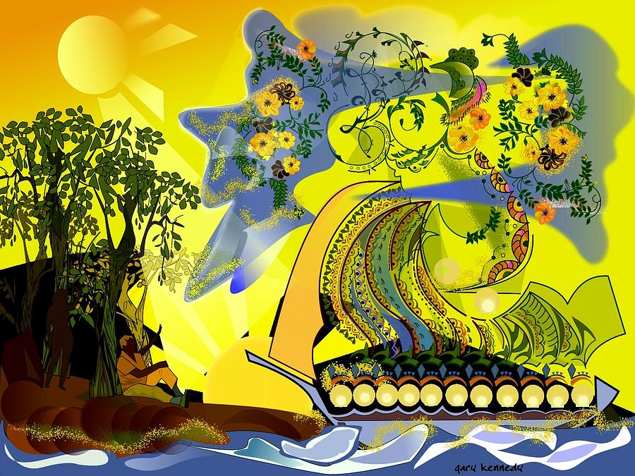 Abstract Digital Art - An Island Dream by Gary Kennedy