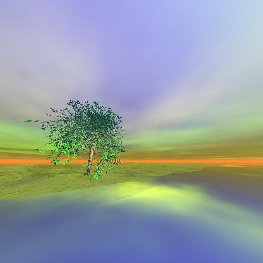 Tree Digital Art - An Isolated Tree Identification Number A008 by Taketo Takahashi