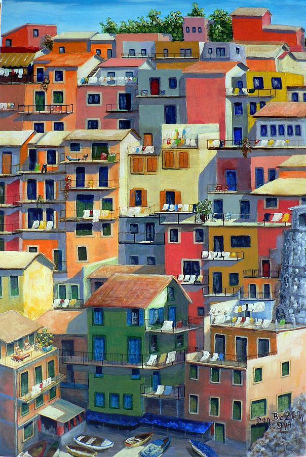 Manarola Painting - An Italian Village by Dan Bozich