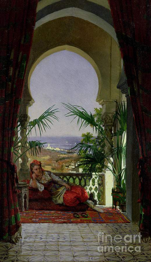 Odalisque Painting - An Odalisque On A Terrace by David Emil Joseph de Noter