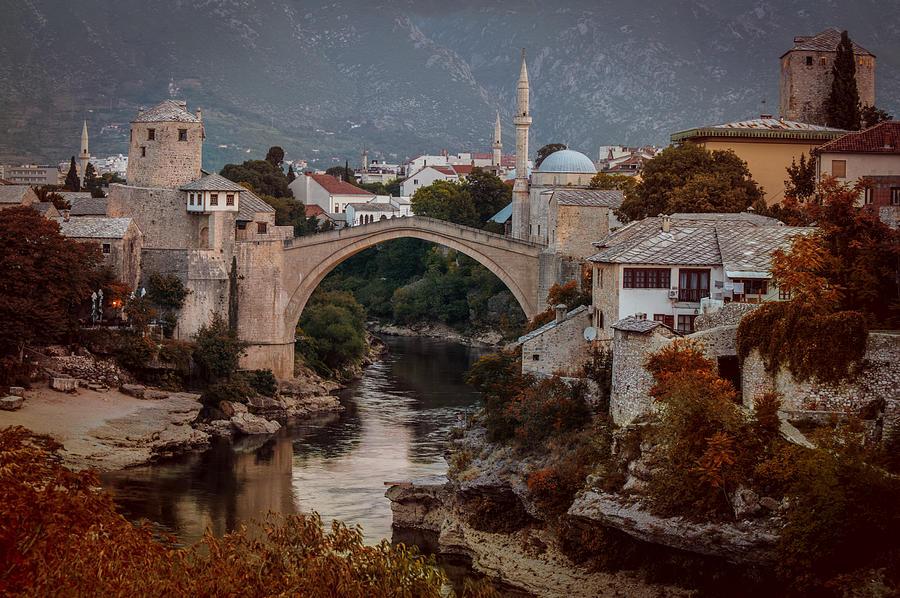 Architecture Photograph - An Old Bridge In Mostar by Jaroslaw Blaminsky