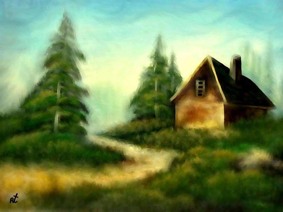 Cabin Painting - An Old Cabin In The Wild by Rafi Talby