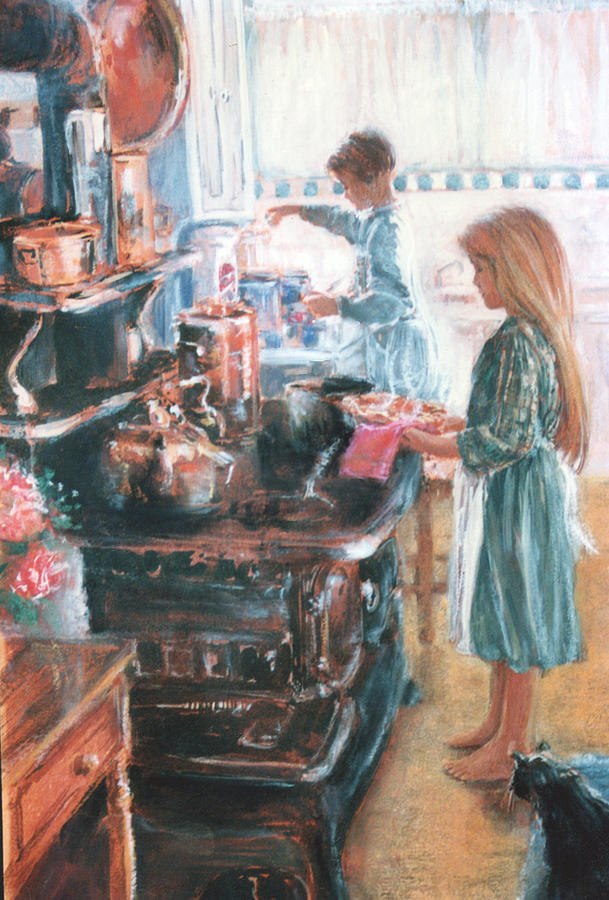 Children Painting   An Old Fashioned Kitchen By Linda Crockett
