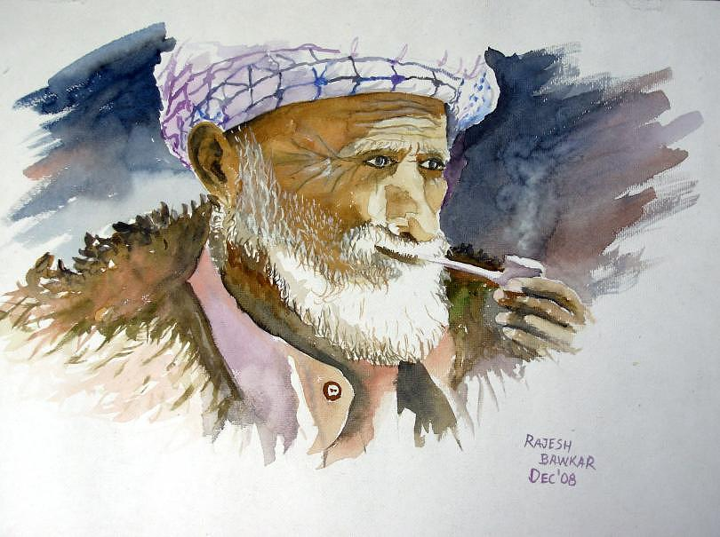 Portrait Painting - An Old Man by Rajesh Bawkar