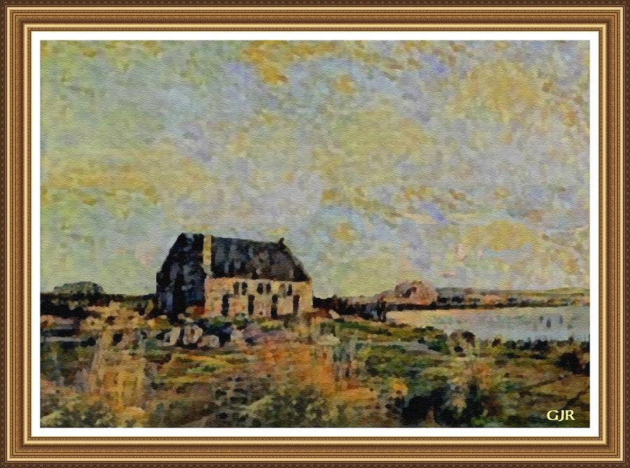 Amsterdam Digital Art - An Old Scottish Cottage Overlooking A Loch  L A S  With Decorative Ornate Printed Frame. by Gert J Rheeders