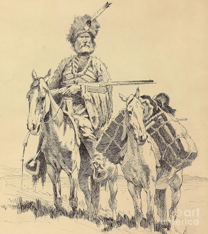 Remington Painting - An Old Time Mountain Man with His Ponies by Frederic Remington