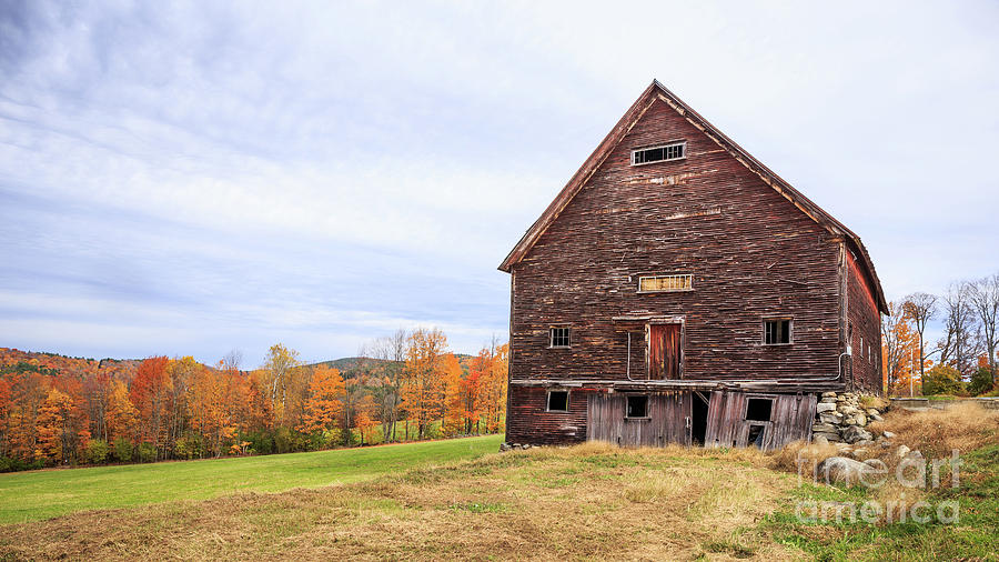 Barn Photograph - An Old Wooden Barn In Vermont. by Edward Fielding