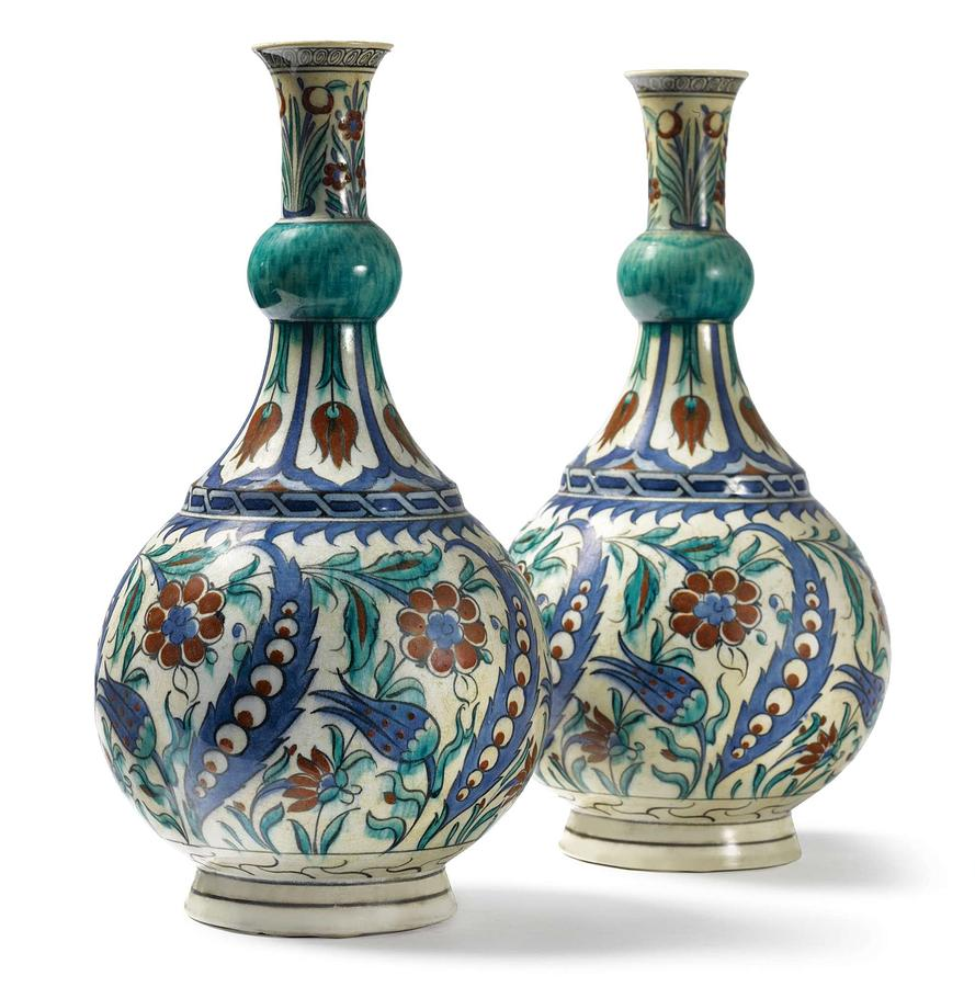 An Ottoman Iznik Style Floral Design Pottery Polychrome, By Adam Asar, No 21 Painting