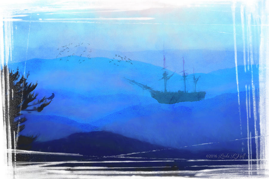 Ship Digital Art - An Unexpected Harbor by Linda Lee Hall