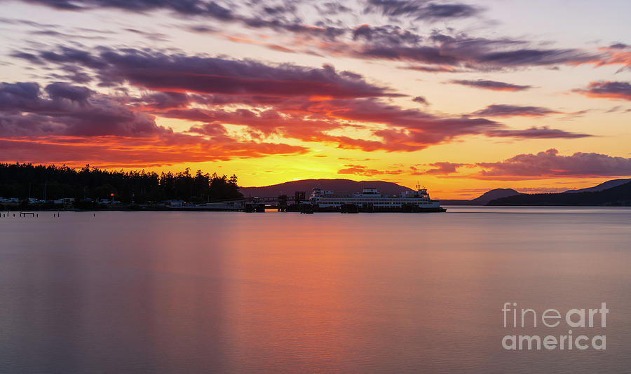 Washington State Photograph - Anacortes Ferry Dock Sunset Smooth Reflections by Mike Reid