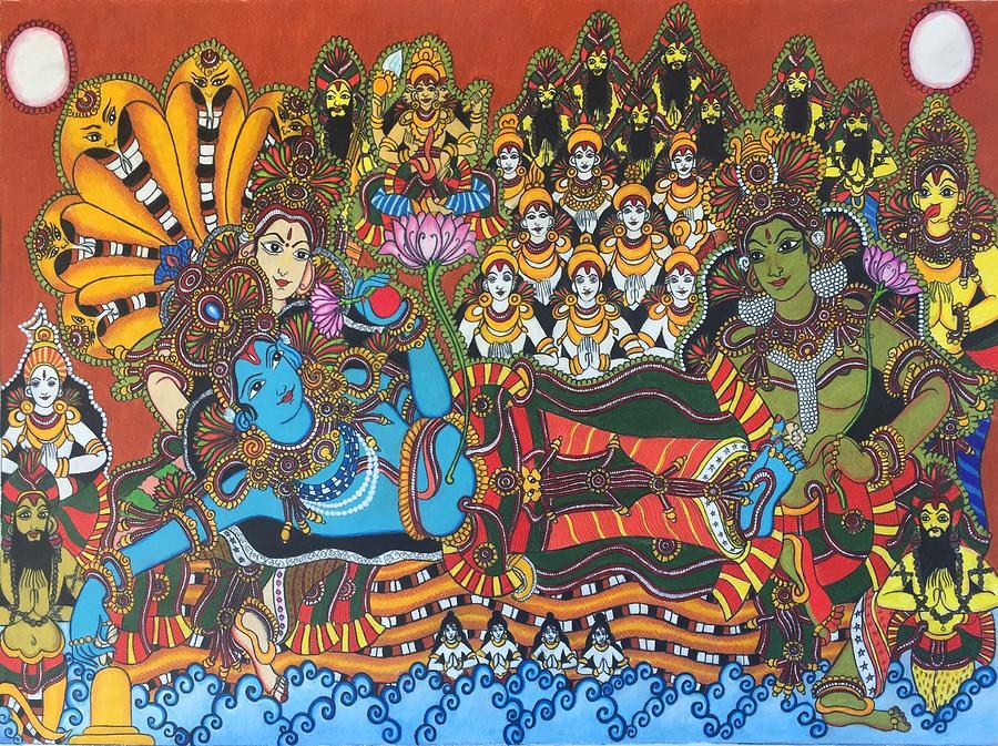 Colored Pencil Drawing - Ananthasayanam II by Sukkanya Ramanathan