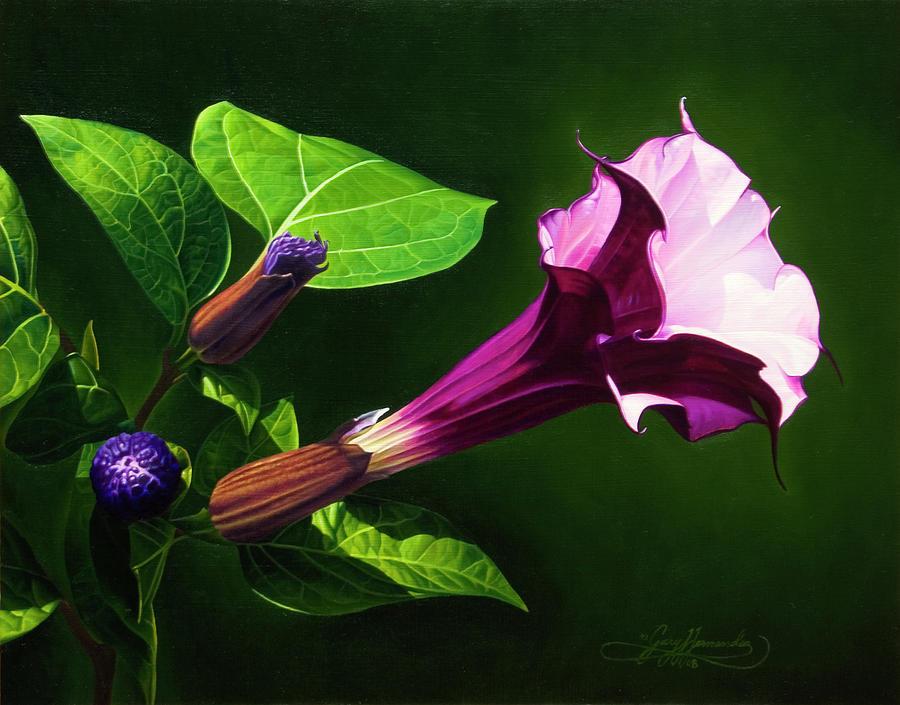 Floral Painting - Anastacias Datura by Gary  Hernandez