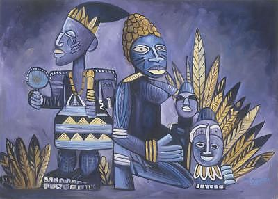 Ancestor Painting - Ancestral Images IIi by Joe Amenechi