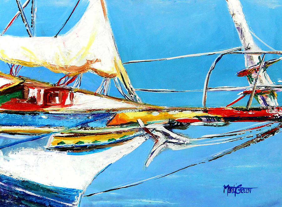 Boats Painting - Anchored 2 by Marti Green