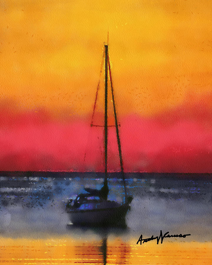 Sunset Painting - Anchored by Anthony Caruso