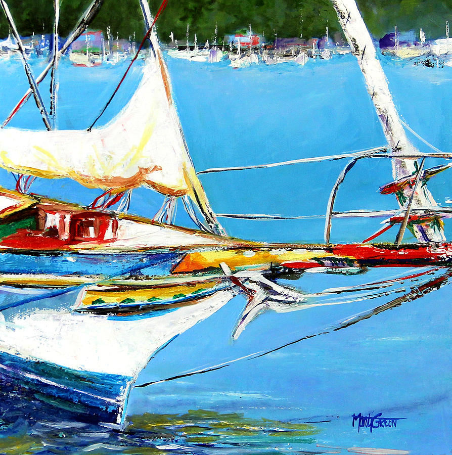 Boats Painting - Anchored by Marti Green